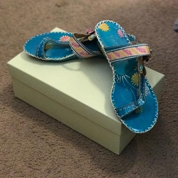 f8bf9cff9031 Spring Step L  Artiste Turquoise Santarini Sandal